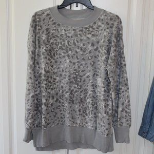 Gray Leopard Aerie Fleece Sweater